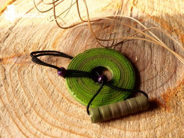 dread hair tie - green spiral