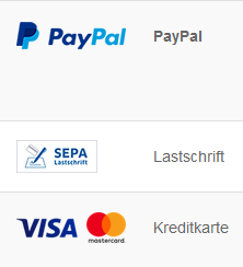Payment method, Zahlungsweisen, paypal, sepa, visa and mastercard